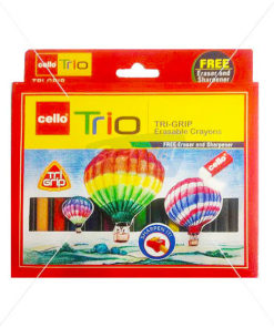 Cello Trio Tri-Grip Erasable Crayons 12 Colours by StatMo.in