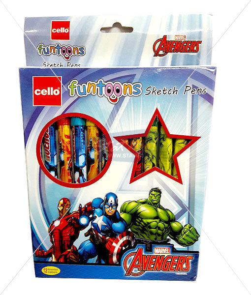 Cello Avengers Funtoons Sketch Pens Set of 12 by StatMo.in