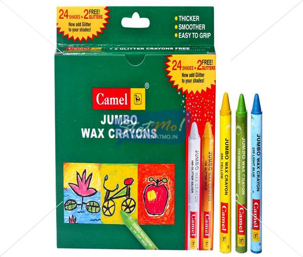 Camlin Jumbo Wax Crayon 24 Shades by StatMo.in