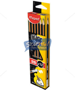 Maped Black Peps Graphite Pencile – 2B Box Of 12 Pencils by StatMo.in