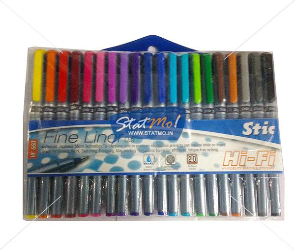 Stic Hi-Fi Steel Fine Liner Regular 20 Color Set by StatMo.in