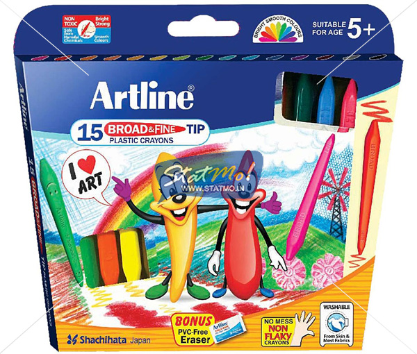 Artline Broad & Fine Tip Plastic Crayon by StatMo.in