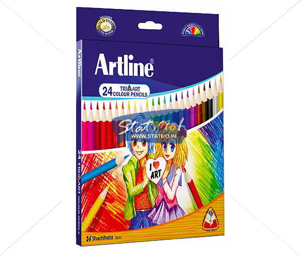 Artline Tri Art Colour Pencils Set of 24 by StatMo.in