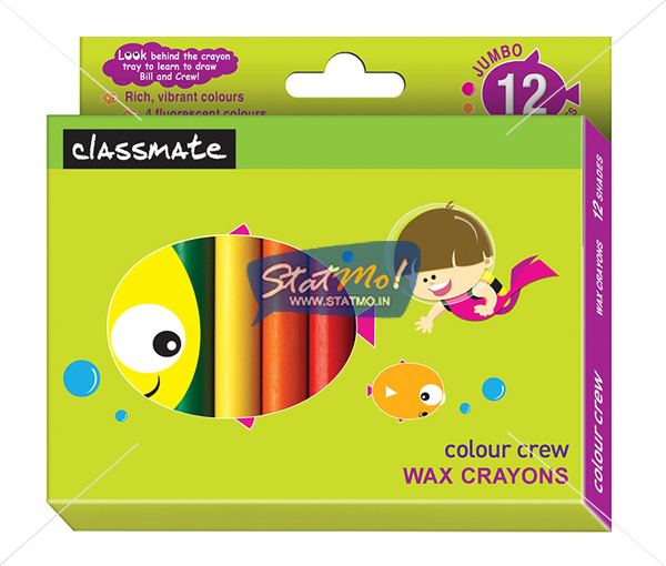 Classmate Wax Crayons Jumbo 12 Shades by StatMo.in