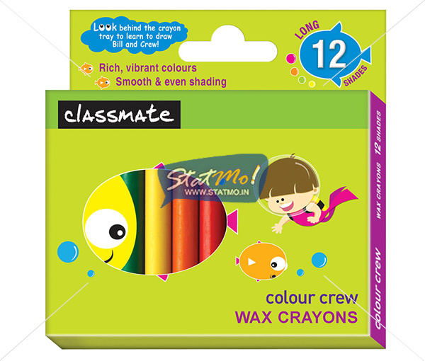 Classmate Wax Crayons Long 12 Shades by StatMo.in