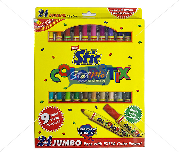 Stic Colorstix Jumbo Color Pens 24 Color Set by StatMo.in
