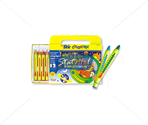 Stic Colorstix Retractable 12 Wax Crayons by StatMo.in