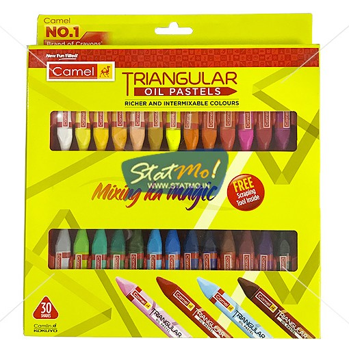 Camel Triangular Oil Pastel 30 Shades by StatMo.in