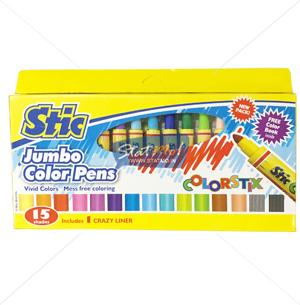 Stic Colorstix Jumbo Color Pens 15 Shades by StatMo.in