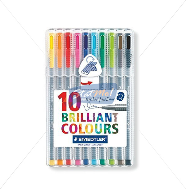Staedtler Triplus Fine Liner 10 Brilliant Colours by StatMo.in