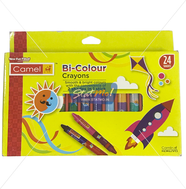 Camel Bi Colour Wax Crayons 2 Shades in 1 Stick 24 Shades by StatMo.in