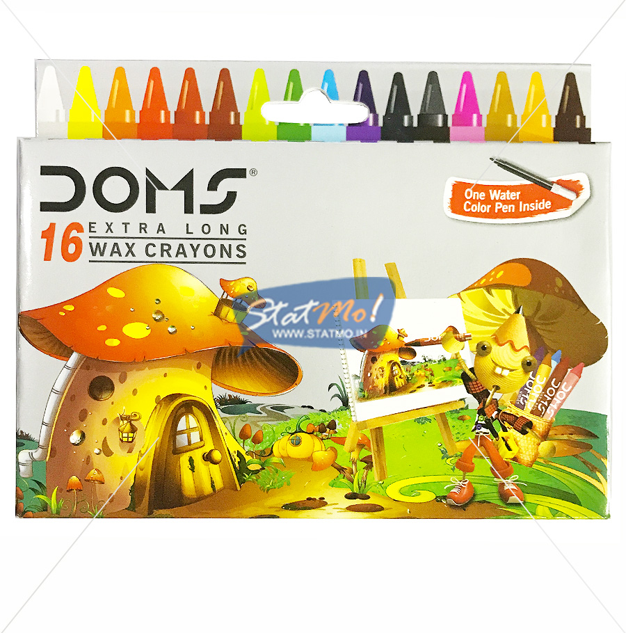 Doms Extra Long Wax Crayons 16 Shades by StatMo.in