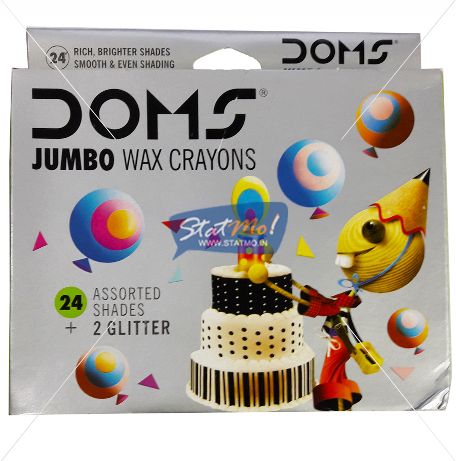 Doms Jumbo Wax Crayons 24 Shades Plus 2 Glitter by StatMo.in