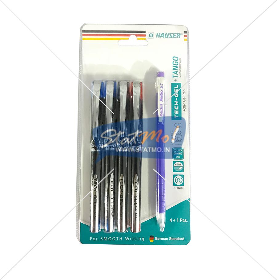 Hauser Tech Gel Roller Gel Pen 4 + 1 Pcs by StatMo.in