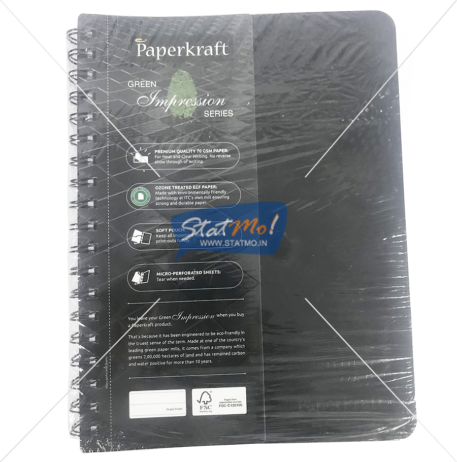 Classmate Paperkraft Green Impression Notebook 160 Pages Single Line by StatMo.in