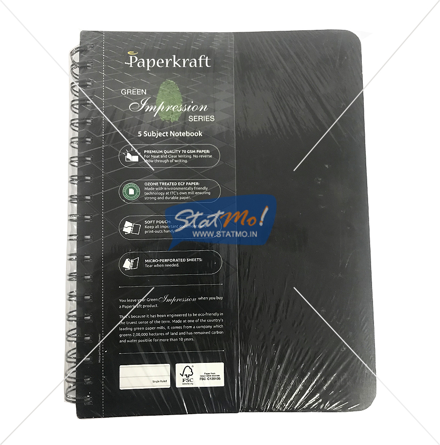 Classmate Paperkraft Green Impression Notebook 300 Pages Single Ruled by StatMo.in