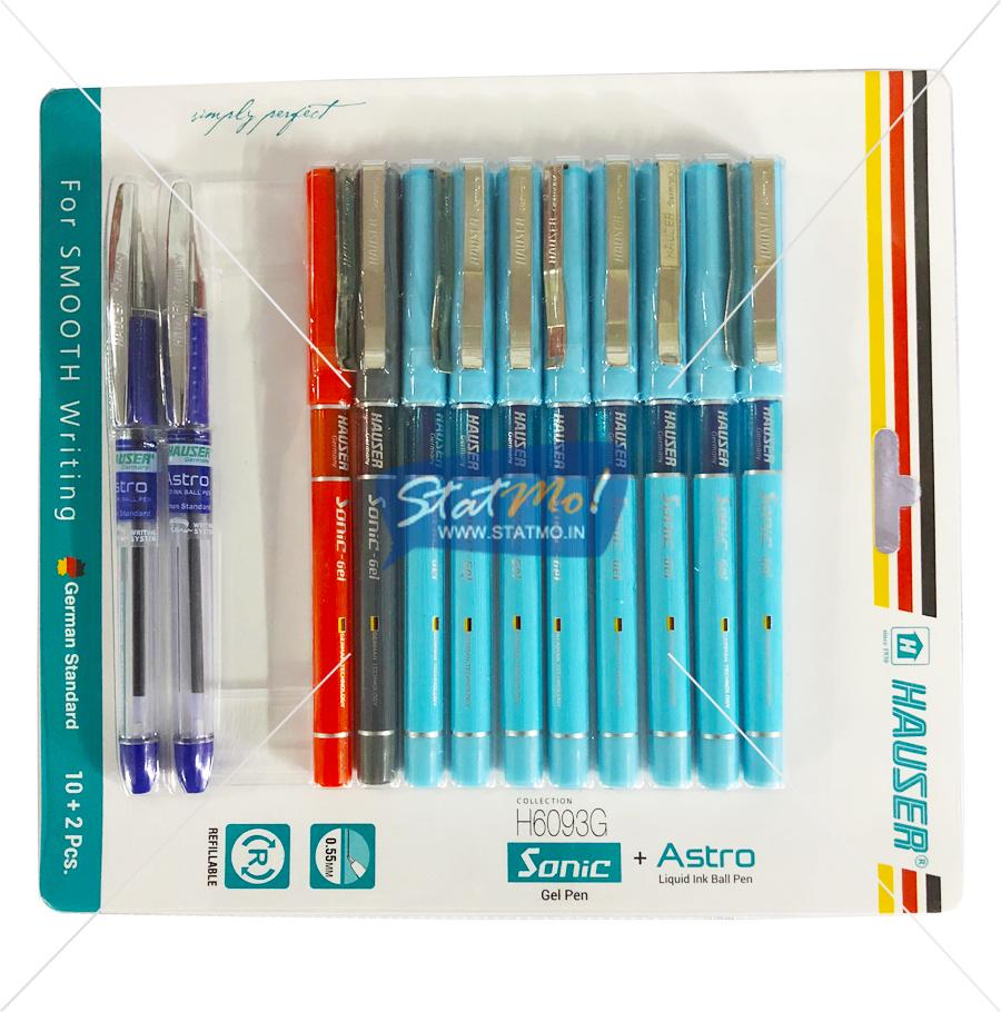 Hauser Sonic Gel Pen & Astro Liquid Ink Ball Pen Set by StatMo.in