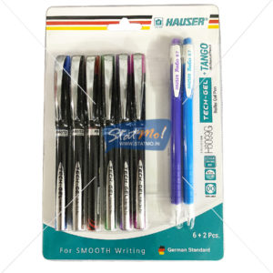 Hauser Tech Gel Roller Gel Pen 6 + 2 Pcs Mechanical Pencil by StatMo.in