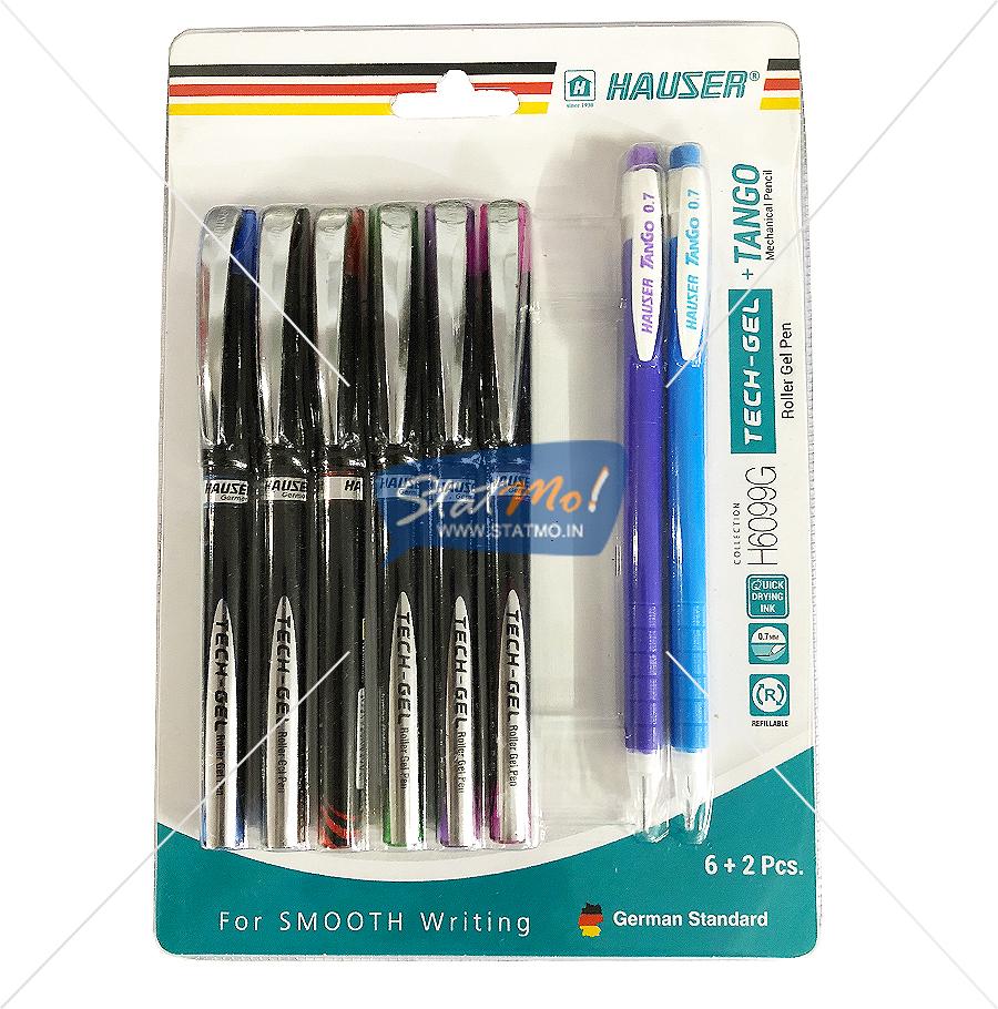 Hauser Tech Gel Roller Gel Pen 6 + 2 Pcs Mechanical Pencil by StatMo.in