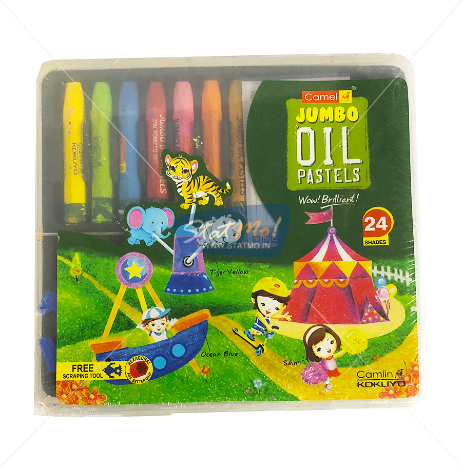 Camel Jumbo Oil Pastel 24 Shades by StatMo.in