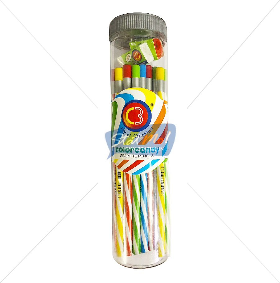 C3 Color Candy Graphite Pencils Jar Packing by StatMo.in