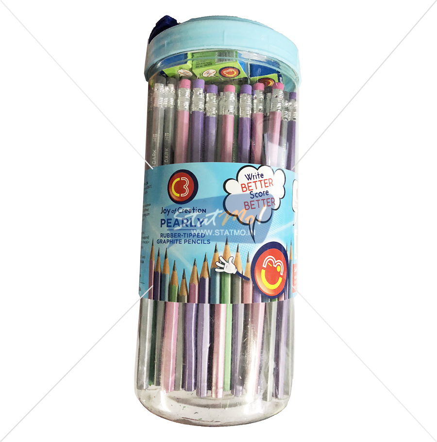 C3 Pearly Rubber Tipped Graphite Pencils Jar Packing by StatMo.in
