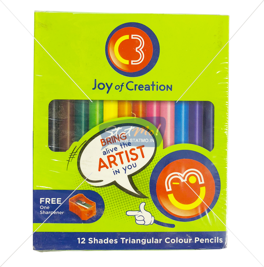C3 Triangular Colour Pencils 12 Shades by StatMo.in